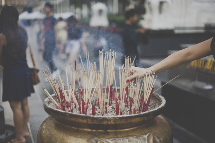 spirituality in Thailand Buddhism Burning Flame Focus On Foreground Freshness Holding Incense Indoors  Men Person Place Of Worship Prayer Religion Religious Offering Scented Selective Focus Spirituality Tradition Worship