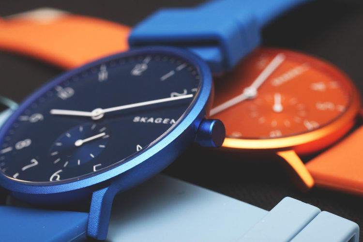 Time Wristwatch Close-up Clock Watch Number Indoors  No People Accuracy Focus On Foreground Orange Color Minute Hand Personal Accessory Clock Hand Control Blue Still Life Selective Focus Timer Speedometer Clock Face Stopwatch Product Photography Seller Colorful