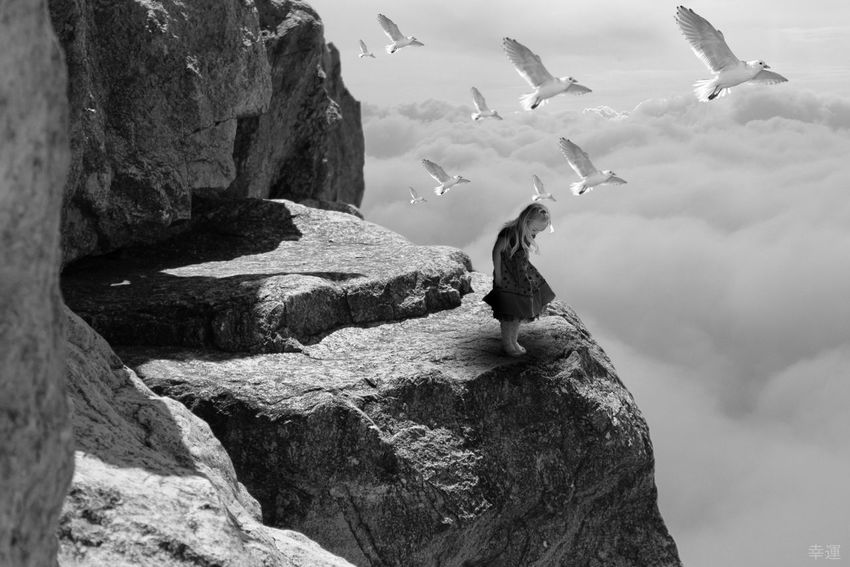 decisions Girl Mountain Sky Birds Monochrome Lucky's Monochrome Monoart Black And White Black And White Love Silence Melancholy Tranquility Tranquil Scene Melancholic Landscapes Mood Lucky's Mood EyeEm Gallery Shootermag Photomanipulation Emotions Sad Alone Art Sky And Clouds Light And Shadow
