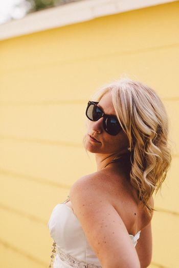 Blonde Close-up Contemplation Day Focus On Foreground Headshot Human Face Leisure Activity Lifestyles Long Hair Portrait Portrait Of A Woman Sassy Sunglasses Wedding Yellow Girl Power Paint The Town Yellow