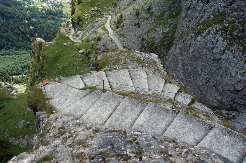 High angle view of steps at gemmi pass