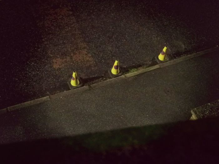 Cones Night Shot 🌒 Watchers Road Cones 3 Cones Binocular View