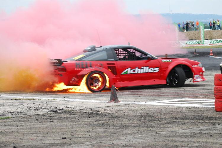 Achiles Drifting Fire Fired Up King Of Europe Nikon D40x Nissan 200SX 2JZ Red Smoke Szilveszter Drift Tököl Tököl Airport Tököldrift