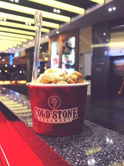 #coldstone #icecream Food And Drink Text Indoors  Food Western Script Close-up Focus On Foreground