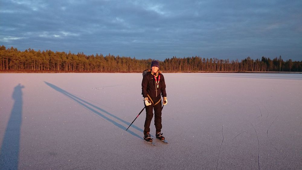 Premiere Iceskating Long Distance Skating this season. Wonderful Place Lake Long Shadows