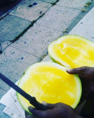 Juicy Yellow Watermellons Watermellon  Love Love ♥ Beauty City Life Lifestyles Tropical Fruits ♡ Fruits Fruit Exotic Passion Healthy Healthy Lifestyle Healthy Eating Eat Enjoy Luxury Urban Yellow High Angle View Food And Drink