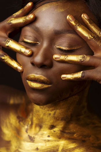 Arts Culture And Entertainment Close-up Editorial  Editorial Fashion Fashion Fashion Fashion Photography Gold Gold Colored Human Body Part Human Hand Luxury Sculpture Shiny Spiritual Spirituality Statue Fresh on Market 2017 EyeEm Diversity Break The Mold