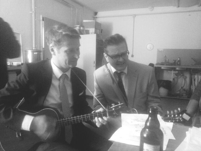 """Ukulele &Beer at the Aftershow Party from """"Saloon Pushel""""."""