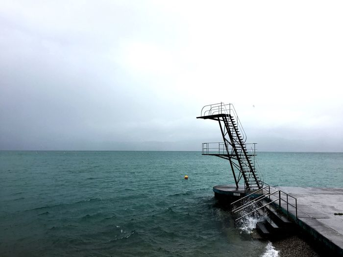 Water Lake Leman Switzerland St Gingolph Rain Rainy Days