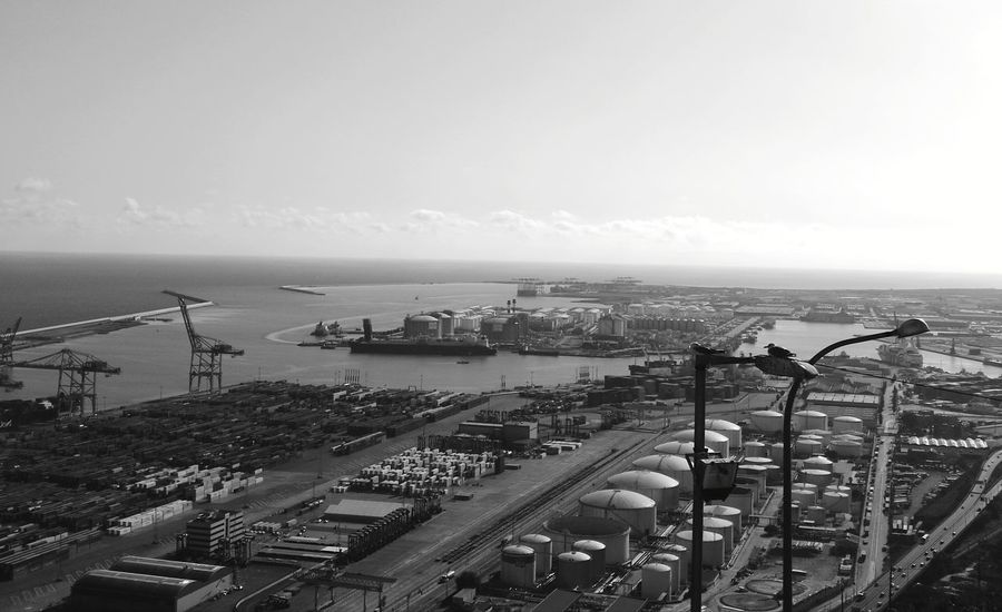 Seaport Sea High Angle View Horizon Over Water Transportation Outdoors Ship Day No People Built Structure Water Industry Port De Barcelona  Black And White