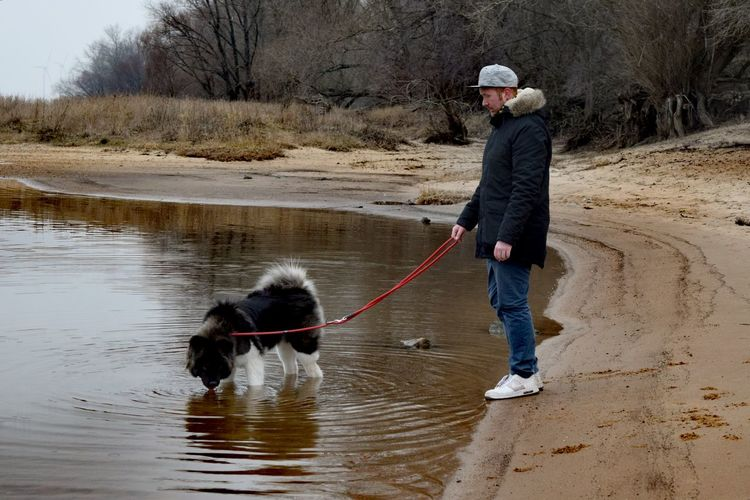 Water Outdoors Adult People At The River Elbe American Akita One Person Cold Temperature Weather Dogs Of EyeEm Dogslife Dogwalk February 2017 Winter 2017 How Is The Weather Today? Herrenkrugpark Take A Walk In The Park Animal Themes Domestic Animals Dog Water_collection People Photography Winter