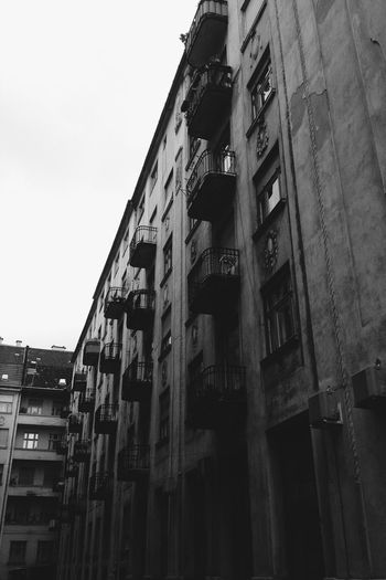 Apartment Architecture Balcony Blackandwhite Budapest Building Exterior Built Structure Day Faded Low Angle View No People Outdoors Sky