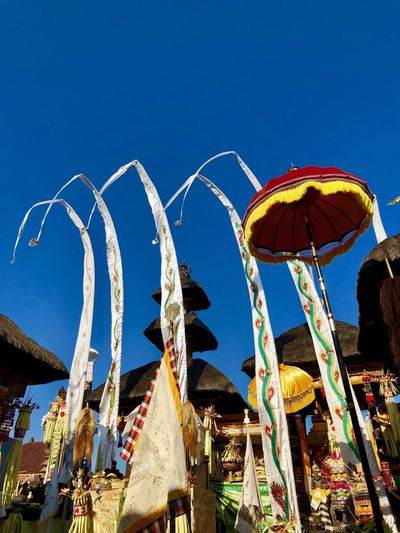 Hindu Culture Hindu Temple Hindu Temple Bali Ceremony Bali Sky Low Angle View Blue Clear Sky Nature Day Sunlight Architecture