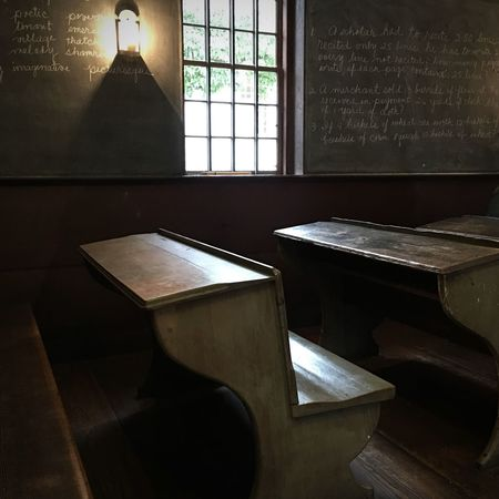 Old schoolroom with wooden desks and chalkboards Education No People Classroom Wood Desk Old School House School Schoolroom Chalkboard One Room Schoolhouse One Room School