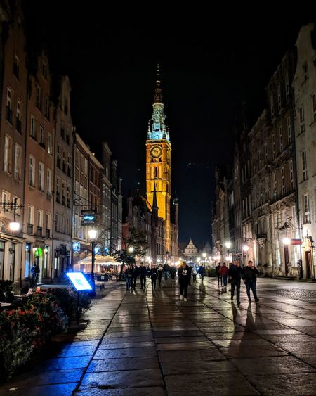 Old town, Gdansk Evening People Street Beauty Lights Light And Shadow Oldtown Oldcity Piland Politics And Government Illuminated Crowd Clock Architecture Building Exterior Built Structure City Gate Clock Face Town Square Neo-classical Town Hall Tall - High First Eyeem Photo