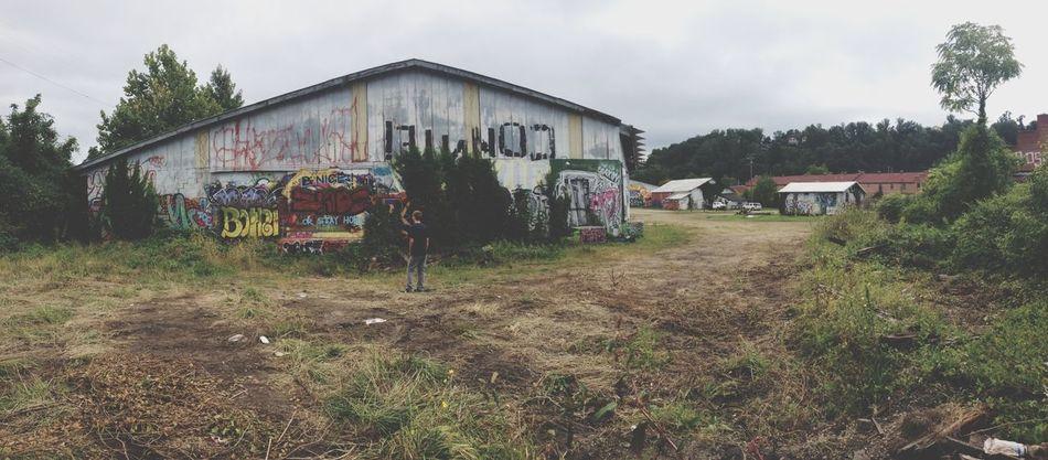 People Watching Walking Around Graffiti Buildings