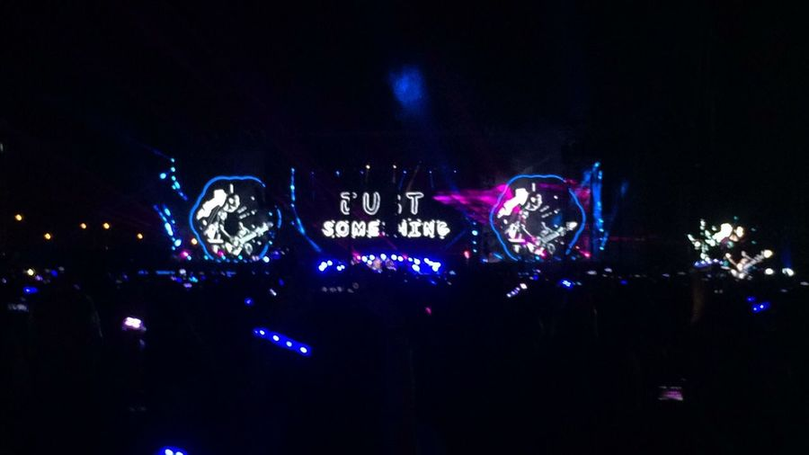 Illuminated Night Arts Culture And Entertainment Music Nightlife Text Event Crowd Outdoors Close-up AHFODtour ColdplayManila Coldplay Concert  Eyeem Philippines