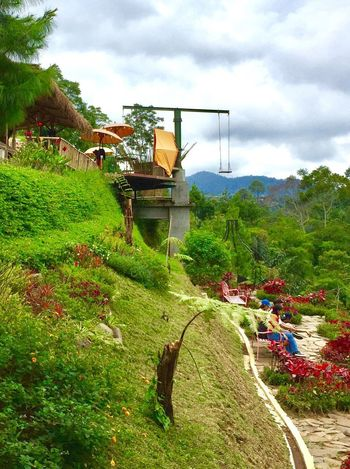 The lodge maribaya Tree Sky Day Grass Field Growth Mountain Outdoors Nature Landscape