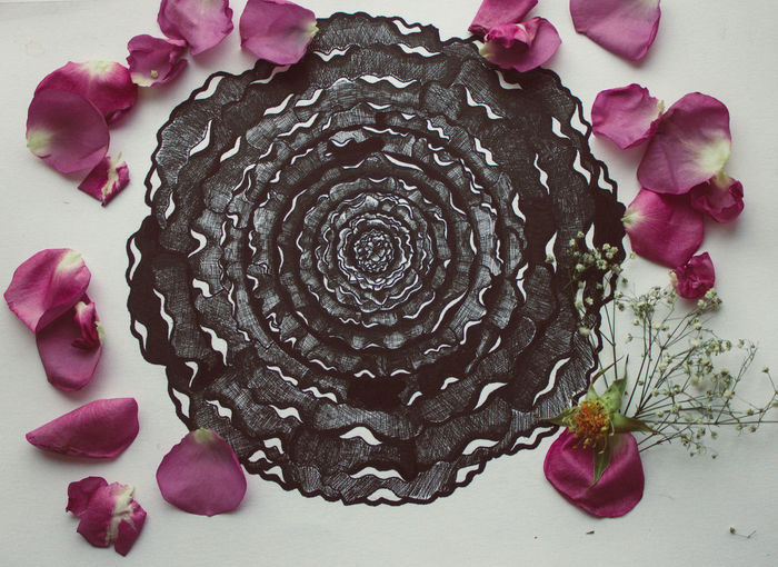 Art Mandala Pink Color Purple Close-up Directly Above Indoors  Sweet Food No People Studio Shot White Background Food Multi Colored Flower Ink Freshness Day My Art, My Soul... EyeEm Ready   Business Stories