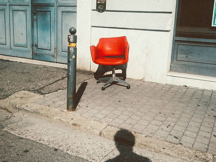 Capture The Moment Chair Red Chair Street Shadow Of Me