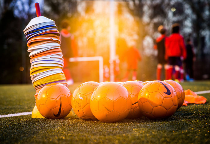 Backlight Backlit Sunset No Faces Recognizable Orange Paris The Weel On EyeEm Backlit Ball Football Training Grass Moody No Faces Out Of Focus On Purpose Soccer Soccer Ball Sun Down Training Untensils