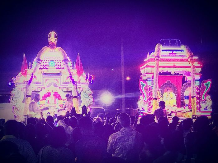 Beautiful twin chariots in procession, a magnificent moment for the devotees seeking Goddess Amman's blessings. Seremban Aadipuram Chariots