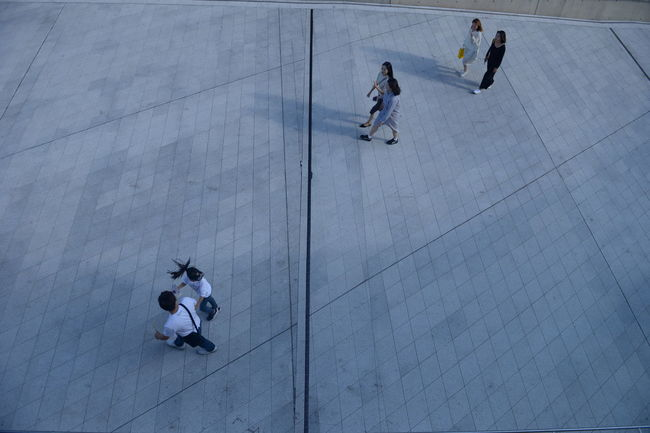 High Angle View Group Of People Real People Full Length Men Lifestyles Walking Women Leisure Activity People Day Adult Group Motion Child City Medium Group Of People Outdoors Flooring Paving Stone Tiled Floor