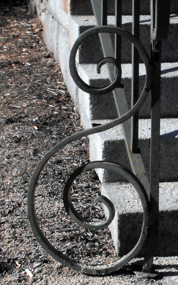 Black Clef Granite Granite Steps Gray Sky Grey Ornamental Outdoors Railing, Spiral Wrought Iron