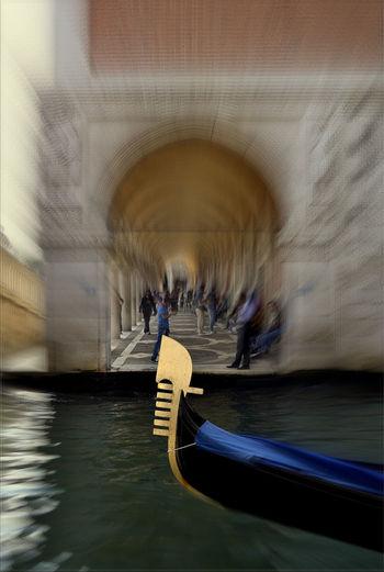 EyeEmNewHere Gondola IloveVenice Lifestyle Arch Architecture Blurred Motion Built Structure Canal Gondola - Traditional Boat Illuminated Ilovephotography Ilovetravelling  Italy Lifestyles Motion Nautical Vessel Travel Venice Water