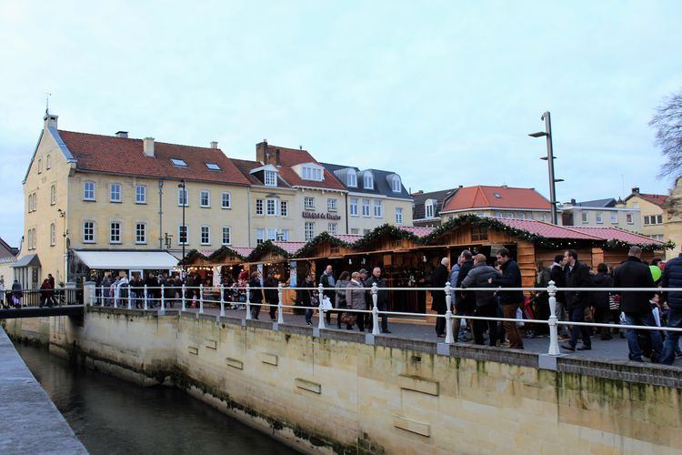 Architecture Bridge - Man Made Structure Building Exterior Built Structure Christmas Decoration Christmas Town Valkenburg Christmastime City Day Large Group Of People Outdoors People Railing Row House Santa's Village Valkenburg Sky Water