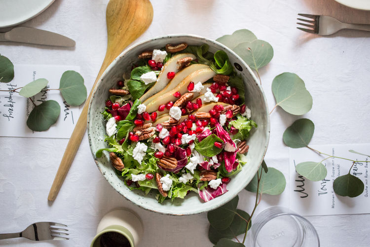 Arugula Bow Day Eating Utensil Food Food And Drink Fork Freshness Freshness Fruit Garden Garnish Greek Salad Hamemade Healthy Eating Indoors  No People Pamgranade Pear Preparation  Ready-to-eat Salad Salad Bowl Vegetable