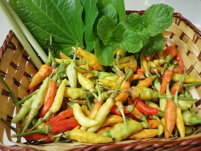Various Vegetable Basket Close-up Food And Drink Green Color Green Chili Pepper Red Chili Pepper Chili  Spice Raw Food