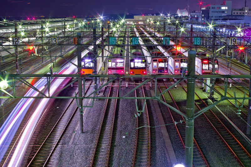 Rail Transportation Railroad Track Transportation Illuminated Mode Of Transportation Train Train - Vehicle High Angle View Night Public Transportation Shunting Yard Architecture No People Motion Built Structure Outdoors Building Exterior Freight Train Locomotive Electricity  Complexity Power Supply Tokyo Night Japan Tokyo