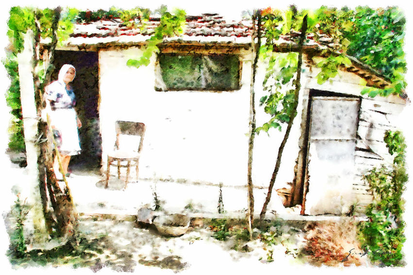 Woman on the country house door Albania Chair Woman Abandoned Architecture Art Built Structure Close-up Damaged Digital Art Digital Painting Outdoors Vineyard Watercolor Watercolor Painting Weathered