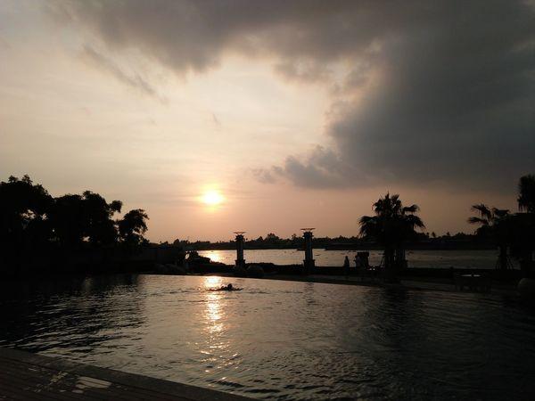 เวลาค่ำริมน้ำเจ้าพระยา Water Tree Sunset Sea Reflection Sky Cloud - Sky Landscape