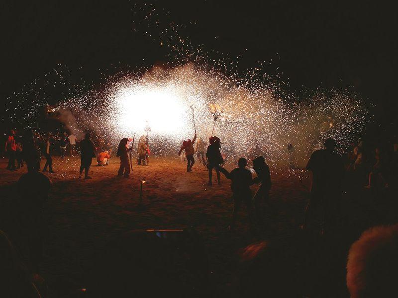 Port De La Selva Silhouette Night Heat - Temperature Enjoyment Fun Leisure Activity People Outdoors Sky Nature Magic Firework - Man Made Object Beach At Night Nit Del Foc Sparks