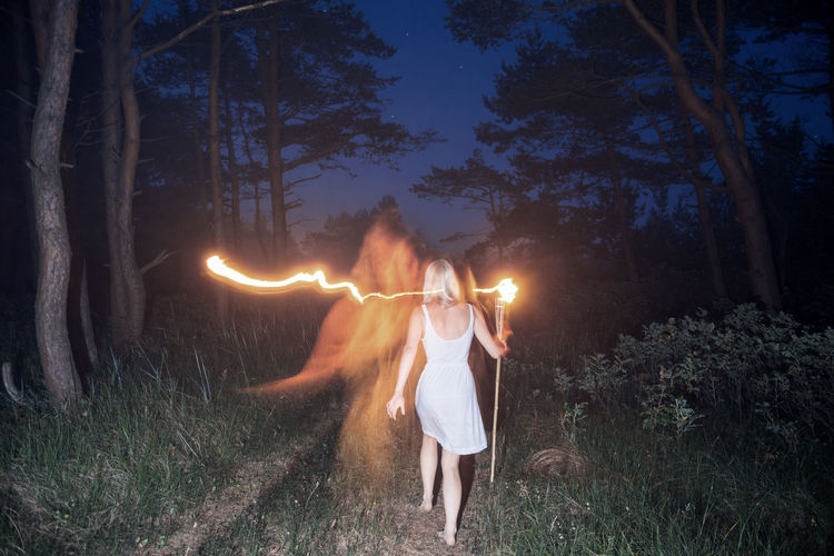 Hide & Seek Alone Blonde Blue Fire Forest Girl Linas Was Here Long Exposure Night Red Light Starry Sky White Dress Woods Fresh On Market 2016 The Great Outdoors - 2018 EyeEm Awards