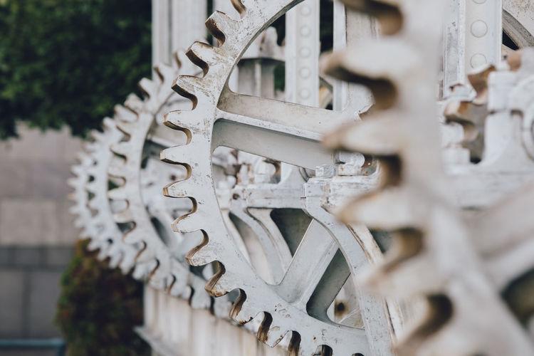 Close-up of metallic gears