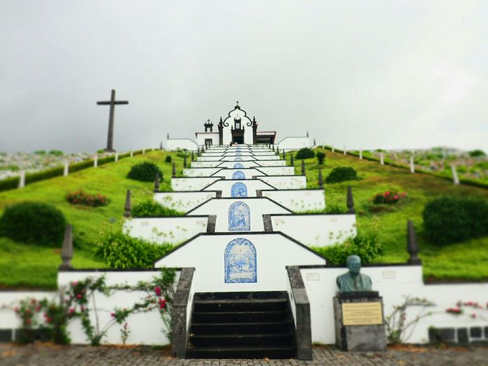 No People Day Outdoors Architecture Sky Stairs Religious  Sanctuary  Vila Franca Do Campo Azores Cross