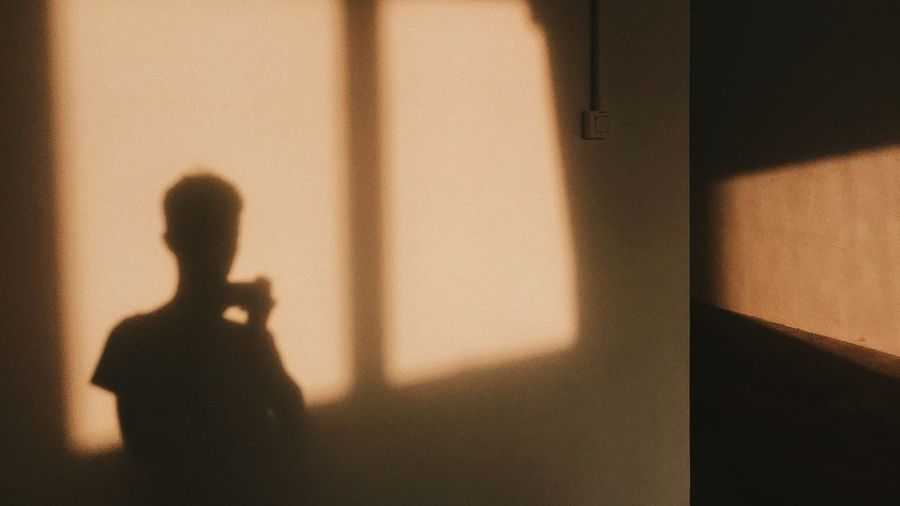 Silhouette of man standing by window