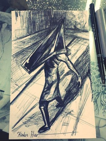 Pyramid head silent hill 2 .... Técnica : tinta Art Ink Drawing Sketch