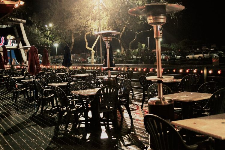 empty outdoor caffee on a rainy night Bar Chair Closed Caffee Closed Door Cold Contrast Empty Empty Outdoor Bar Empty Seats Entertainment Gas Lamps Indoors  Night Nightphotography No People No People Outdoors Outdoors Rain Rainy Days Rainy Night Shadows & Lights Warming Lanterns Wet Day Winter Wintertime