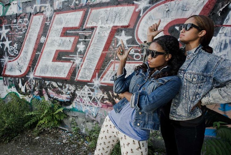 Capture Berlin Portrait of Santigold dancers Desiree and Monica near the Astra Kulturhaus Grafitti Art Respect Berlin