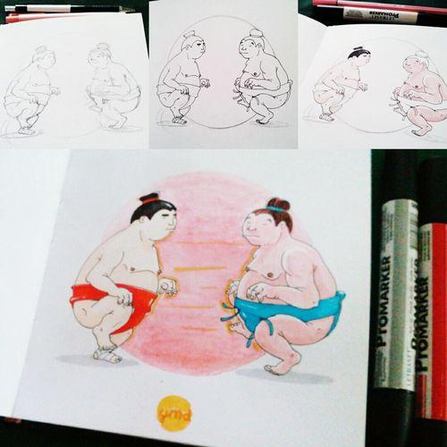 Lottatori di sumo / sumo wrestler inchiostro su sketchbook, 2016. Sumo Sumowrestler Sketchbook Illustration