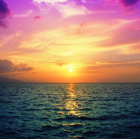 Sunset Sea Multi Colored Orange Color Scenics Horizon Over Water Tranquility Beauty In Nature Nature Outdoors No People Landscape Water Sun Sky