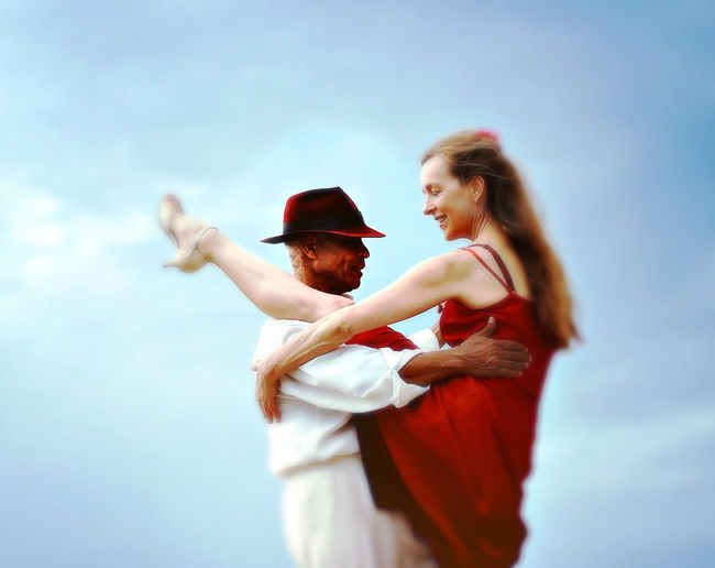 Adult Dance Outdoors People Period Costume Smiling Tango Togetherness Two People