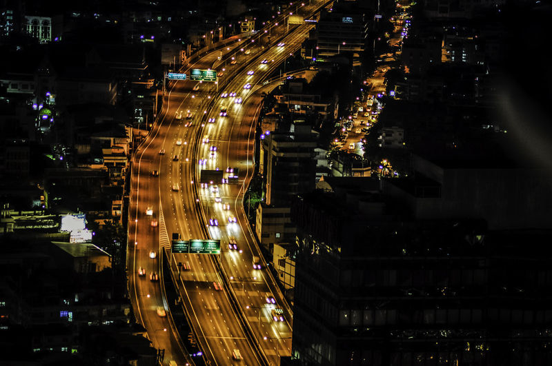 Road at night Bangkok Thailand ASIA Illuminated Architecture City Night High Angle View Cityscape Road Motion No People Traffic City Street Long Exposure Outdoors Transportation City Life Building Street Built Structure Infrastructure