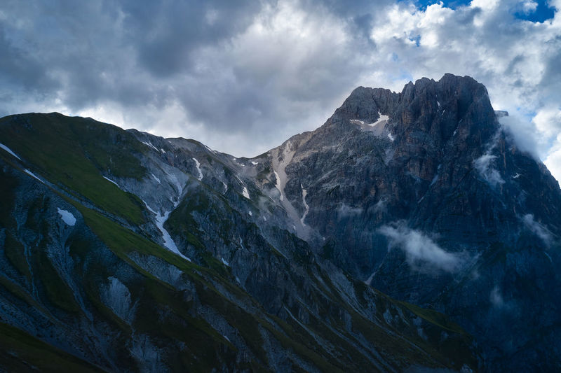 Aerial view of the great horn of the mountain complex of the gran sasso d'italia abruzzo