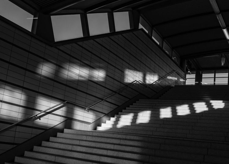 Architecture Built Structure Indoors  Shadow Staircase Pattern Sunlight No People Day Building Steps And Staircases Absence Ceiling Low Angle View Railing Empty Window Glass - Material Wall - Building Feature Flooring Modern Blackandwhite Shadows & Lights Shadows EyeEm Best Shots EyeEmNewHere EyeEm Selects EyeEm The Architect - 2019 EyeEm Awards