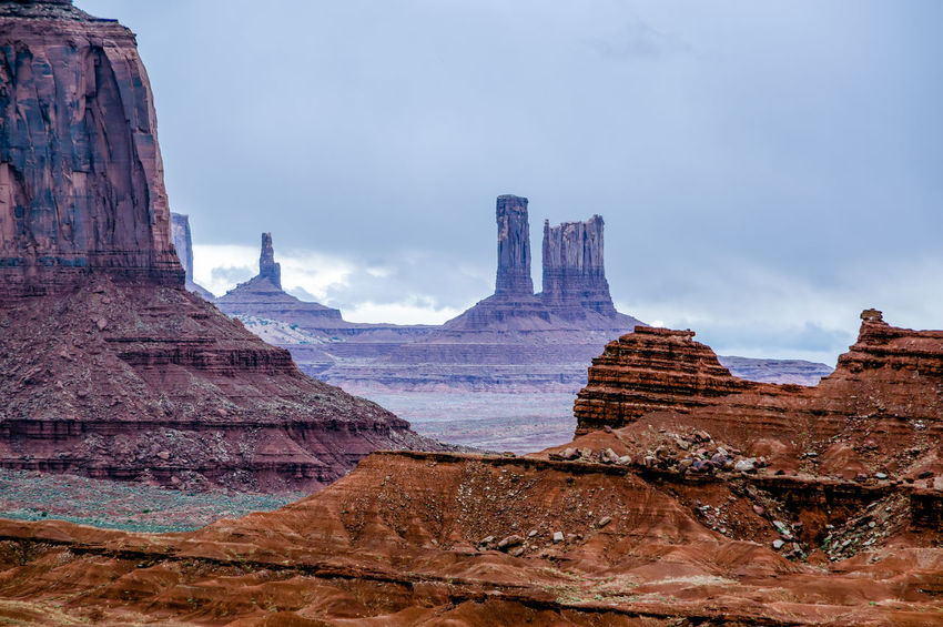 Archival Day Landscape Monument Valley Tribal Park Nature No People Outdoors Overcast Representing Rock - Object Sky Travel Travel Destinations